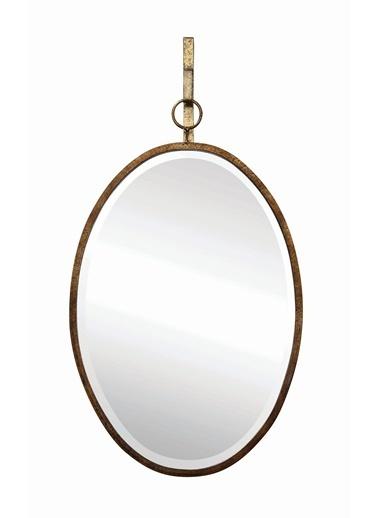Warm Design Metal Oval Duvar Aynası Altın